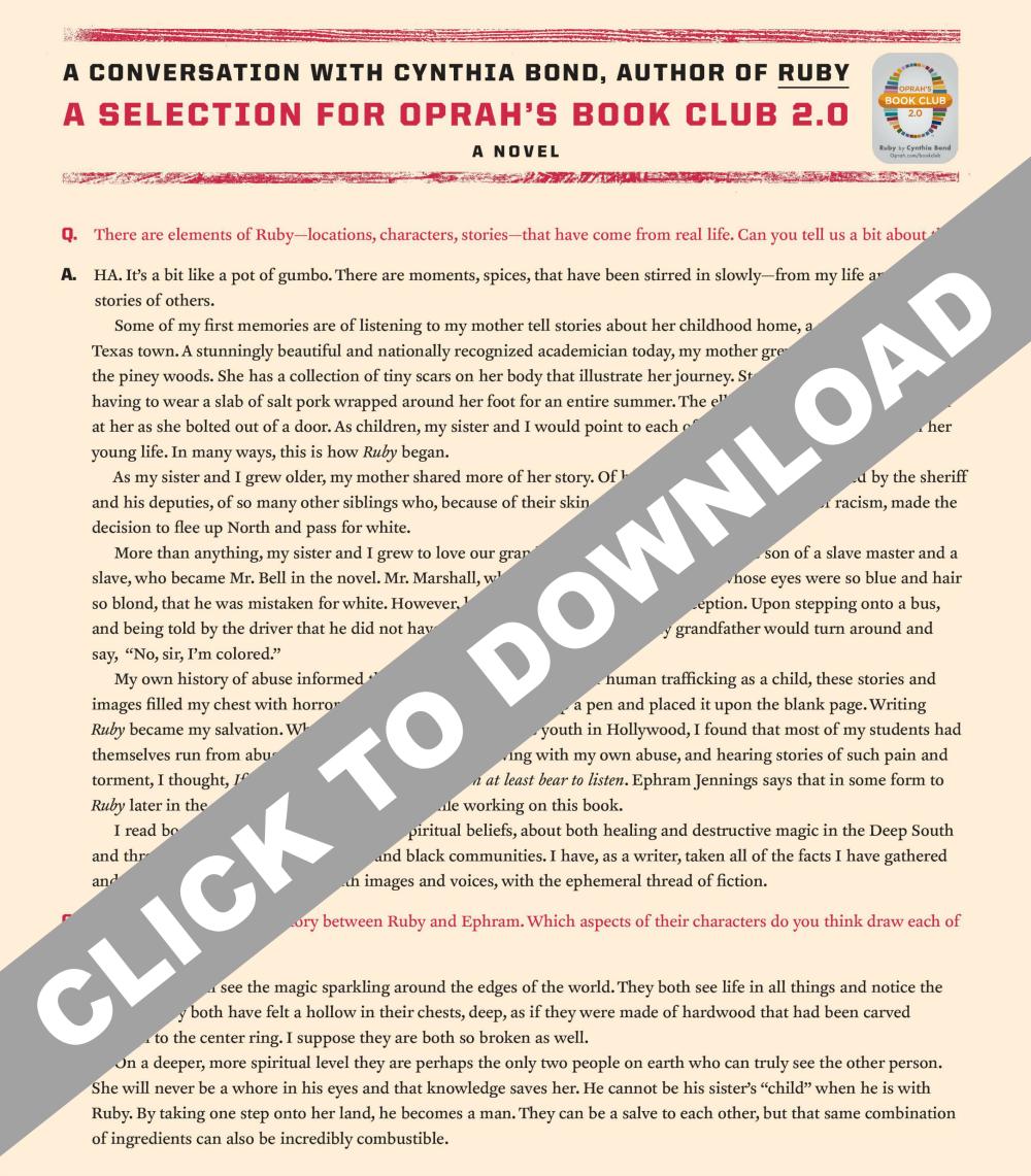 cynthia bond ruby oprah's book club Q&A