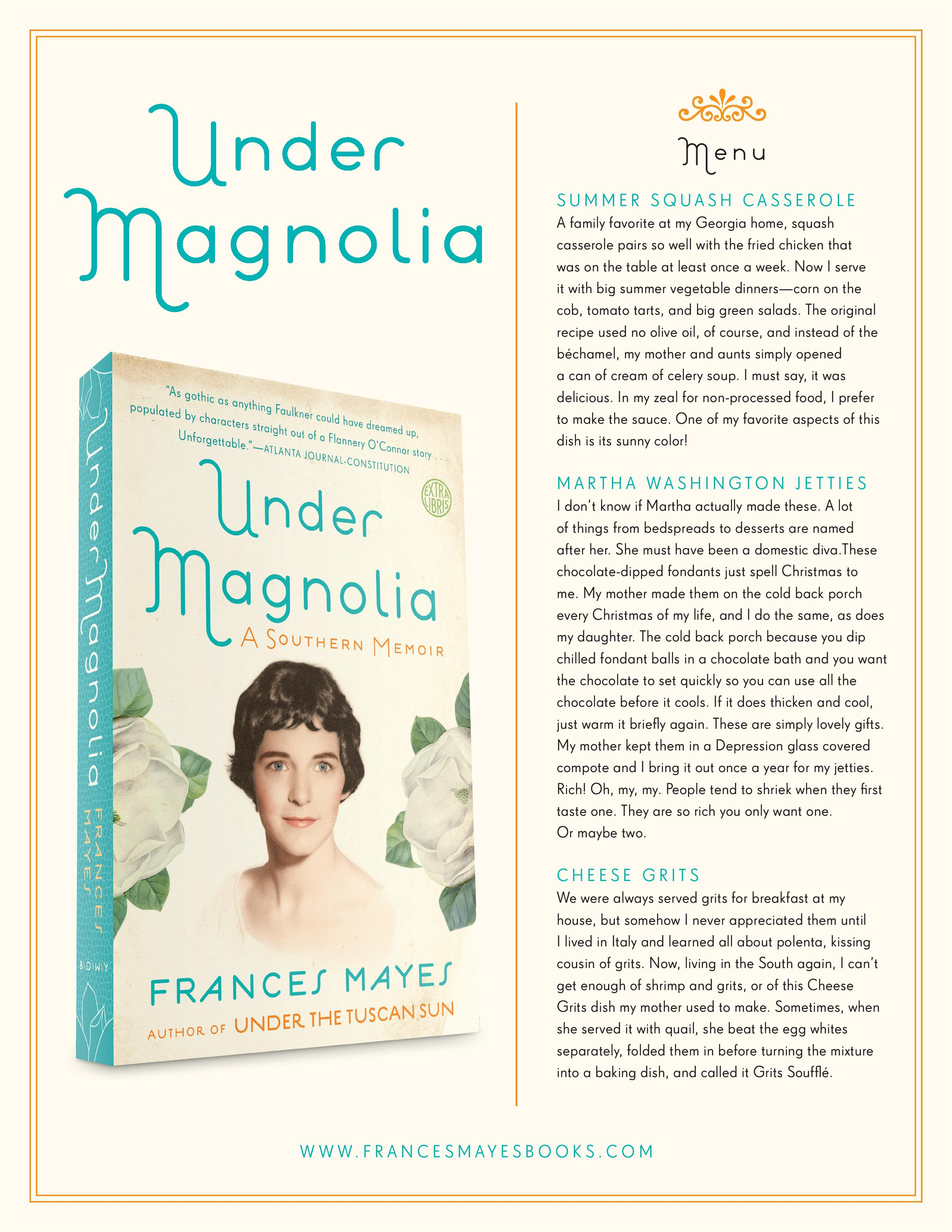 under magnolia southern menu frances mayes