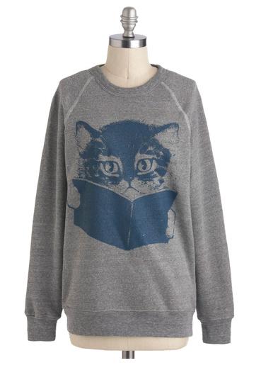 cat and book sweatshirt