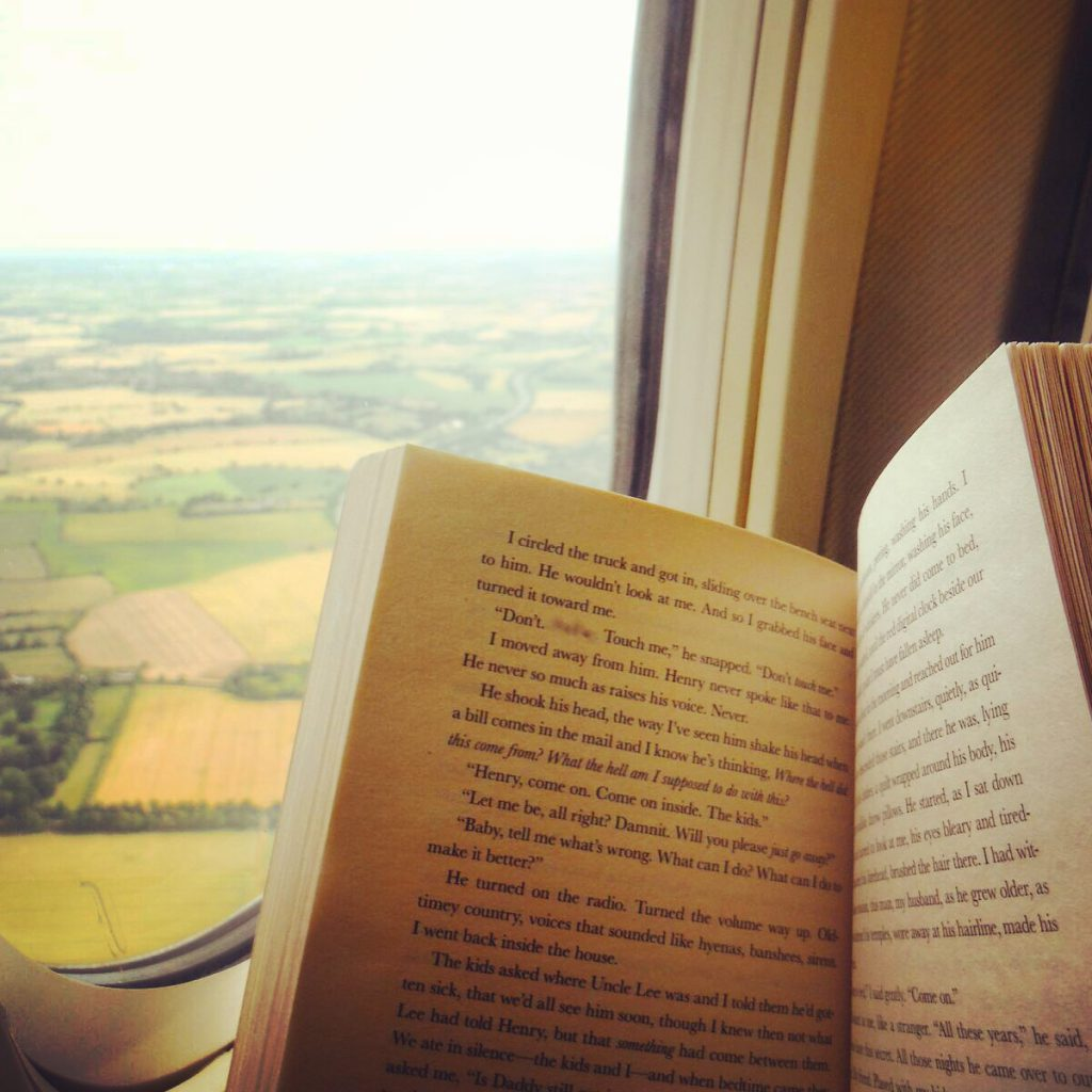 book on a plane