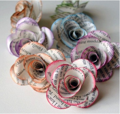 roses made out of newspaper