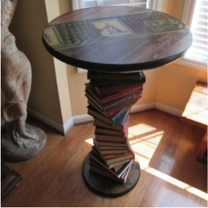 nightstand made of books diy