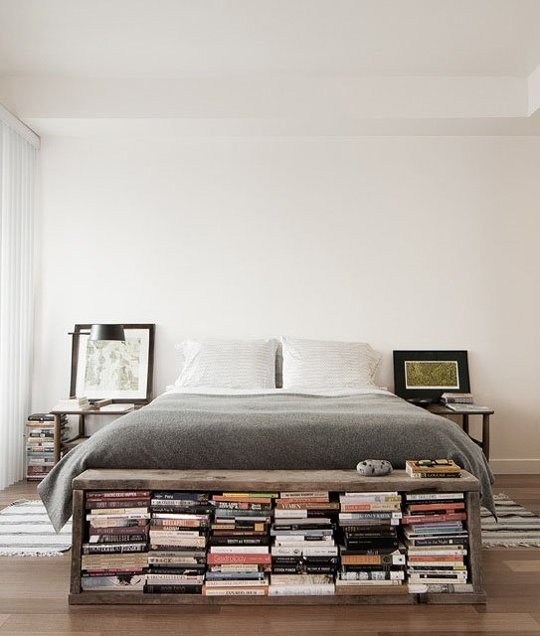 books at foot of bed