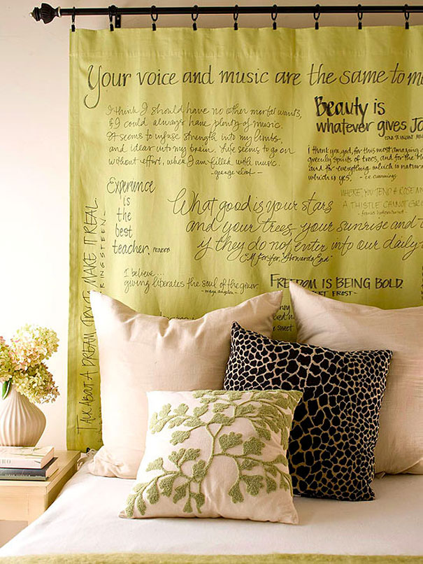 fabric headboard with quotes