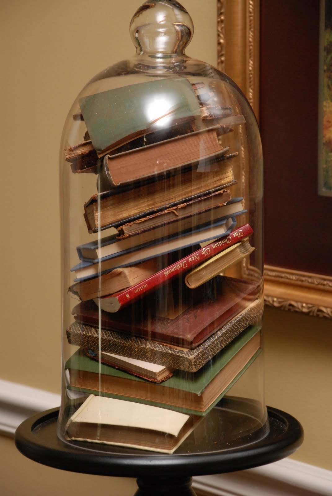 bell jar filled with books
