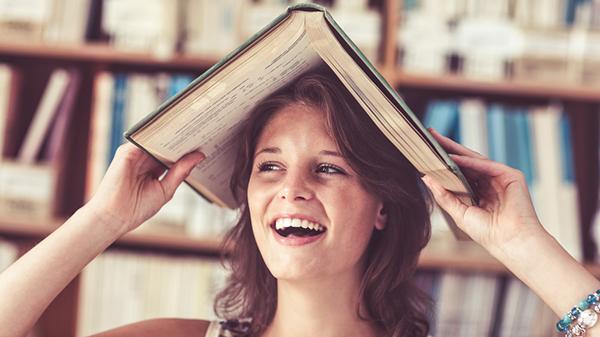 girl with bookshelf