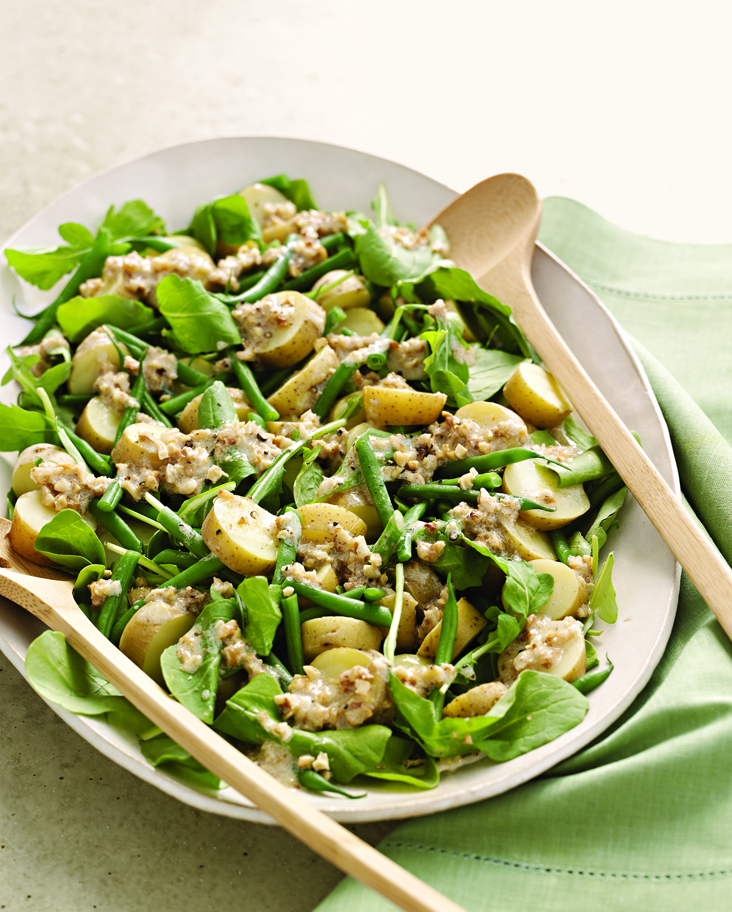 Arugula, Potato, and Green Bean Salad with Walnut Dressing from Meatless by Martha Stewart Living