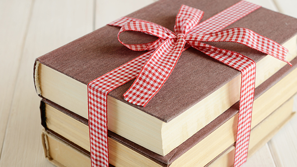 books with ribbon