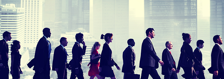 Commuters walking