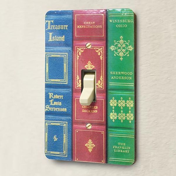 light switch from book covers
