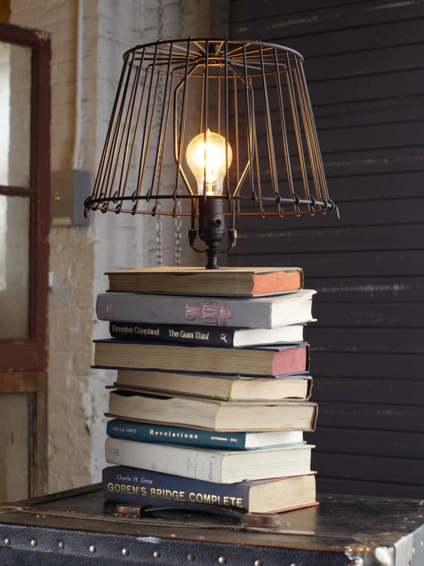 lamp made from books
