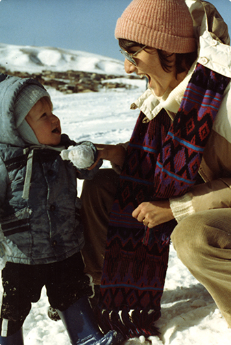 Sue, with Dylan as a toddler, playing in the snow. Courtesy of The Klebold Family.
