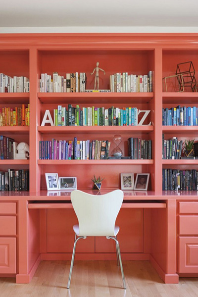 Coral book shelfie