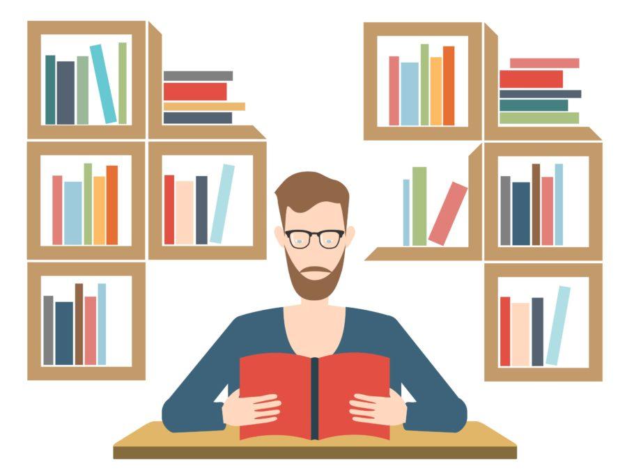 cartoon of man reading book