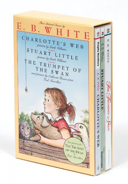 The cover of the book Charlotte's Web, Stuart Little, The Trumpet of the Swan