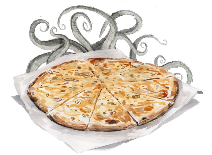 Books with pizza: New Haven clam pie